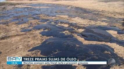 Bahia já tem treze praias de seis municípios atingidas por machas de óleo