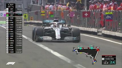 Hamilton para nos boxes e coloca pneus duros