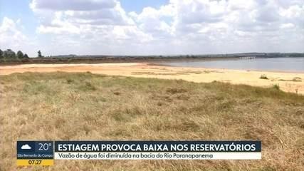 Queda no nível do reservatório de Jurumirim, na bacia do Rio Paranapanema