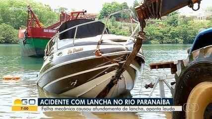 Laudo aponta que falha mecânica levou lancha a afundar, no Rio Paranaíba