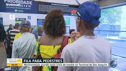 Terminal de São Joaquim amanhece com longas filas nesta segunda-feira