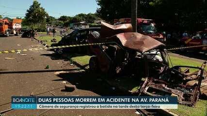 Acidente mata duas pessoas na avenida Paraná
