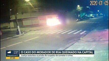 Justiça autoriza a prisão do suspeito de atear fogo em morador de rua