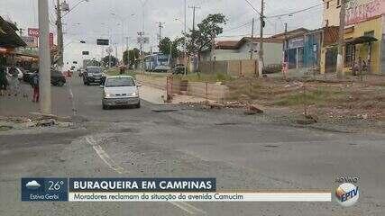 Moradores reclamam de buracos nas ruas da Av. Camucim, em Campinas