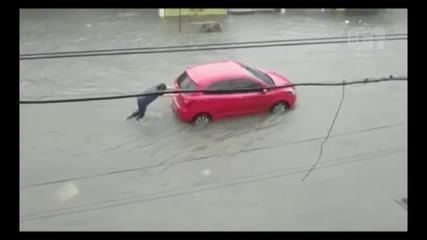 Belém registra diversos alagamentos após 10 horas de chuva