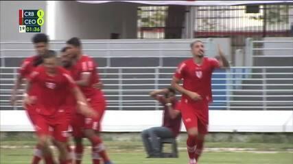 Gol do CRB! João Carlos pega sobra, chuta forte e marca no primeiro minuto contra o CEO