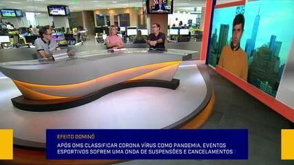 Redação SporTV debate paralisação de eventos esportivos devido ao coronavírus