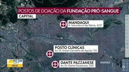 Fundação Pró-Sangue entra em estado de emergência por falta de estoque de sangue
