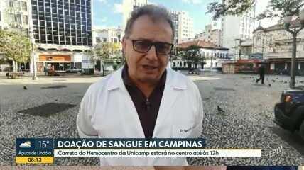Carreta do Hemocentro da Unicamp faz coleta de sangue no Centro de Campinas