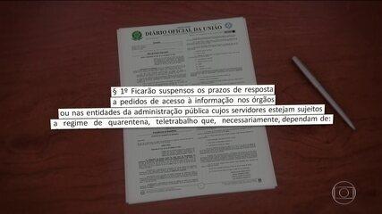 Governo suspende prazos da Lei de Acesso à Informação por causa do coronavírus