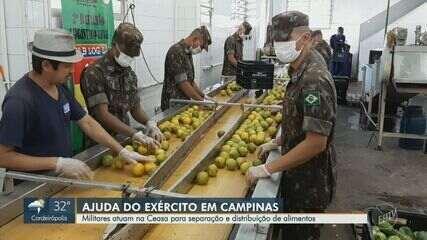 Militares atuam na Ceasa para separação e distribuição de alimentos em Campinas