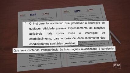 MPF, MPSC e MPT recomendam 'respaldo científico' para retomada das atividades