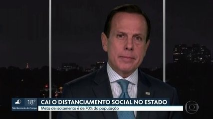 'Se a meta de isolamento não subir, pessoas podem até ser presas', afirma João Doria