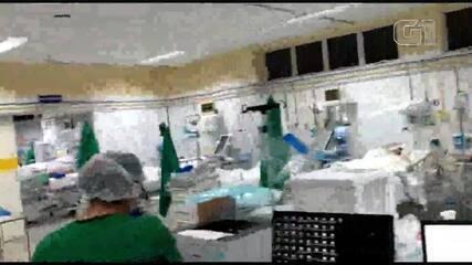 Vídeo mostra aventais de uso coletivo expostos em ala do HUT