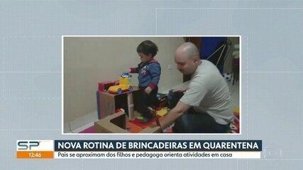 Isolamento social impõe nova rotina de brincadeiras entre pais e filhos dentro de casa
