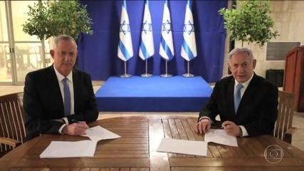 Primeiro-ministro de Israel e principal rival formam aliança de governo de emergência