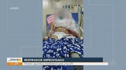 Paciente com covid-19 respira com ajuda de saco plástico improvisado em hospital do AM