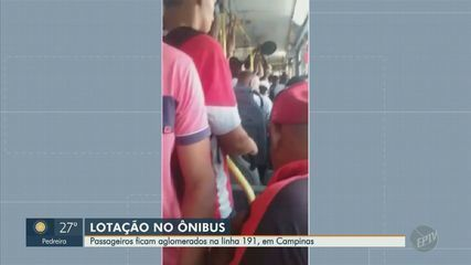 Passageiros de ônibus ficam aglomerados na linha 191, em Campinas