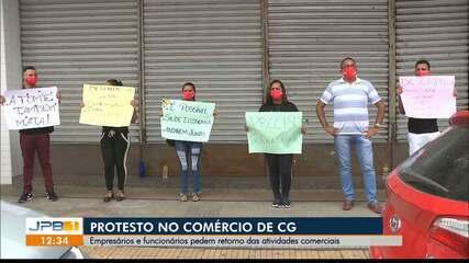 Profissionais do comércio de Campina Grande pedem volta de atividades durante protesto