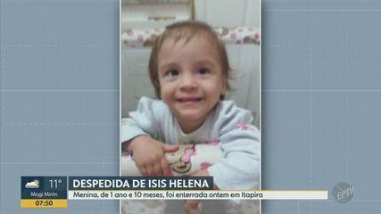 Após perícia, corpo da bebê Ísis Helena é sepultado durante cerimônia reservada em Itapira