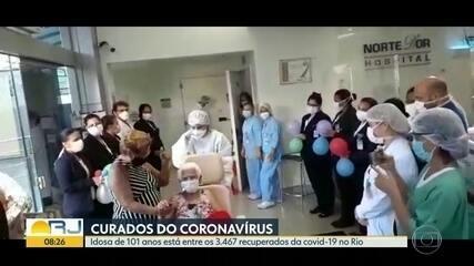 Idosa de 101 anos é uma das 3.467 pessoas curadas da Covid-19