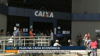 Agências da Caixa amanheceram com longas filas em todo o Paraná