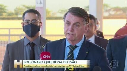Bolsonaro diz que decisão de Moraes foi 'política' e que vai recorrer