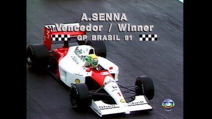 Em 1991, Ayrton Senna vence o Grande Prêmio do Brasil de Fórmula 1