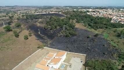 Área verde pega fogo perto dos prédios do Fórum e da Câmara de Conchas