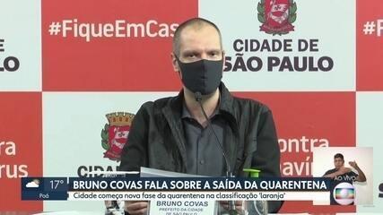 Bruno Covas fala sobre a saída da quarentena