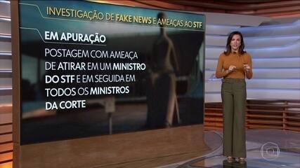 Inquérito que investiga fake news descobriu ameaças de matar ministros e incendiar o pleno