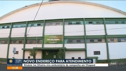 Ginásio Ivo Silveira vira ambulatório para pacientes com sintomas de Covid-19 em Chapecó