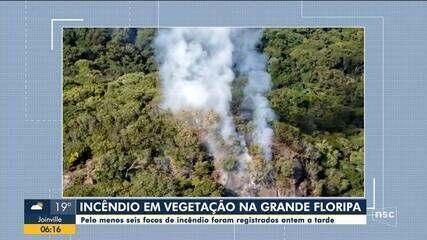 Fogo atinge vegetação na Grande Florianópolis