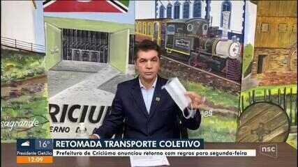 Criciúma retoma transporte coletivo a partir de segunda-feira