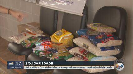 Polícia Militar e Corpo de Bombeiros de Araraquara arrecadam doações para famílias