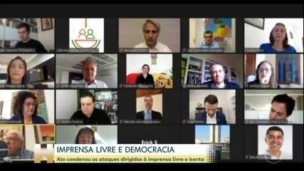 Ato virtual a favor da liberdade de imprensa reuniu entidades e políticos