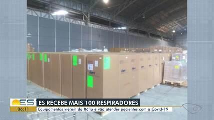 ES vai receber mais 100 respiradores vindos da Itália