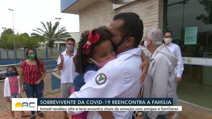 Paciente que passou 42 dias internado com Covid-19 tem alta e comemora