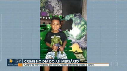 Corpo do menino morto em festa de aniversário deve ser enterrado na tarde desta terça (9)