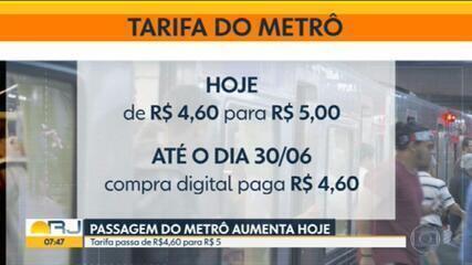 Passagem do metrô do Rio fica mais cara a partir desta quinta (11)