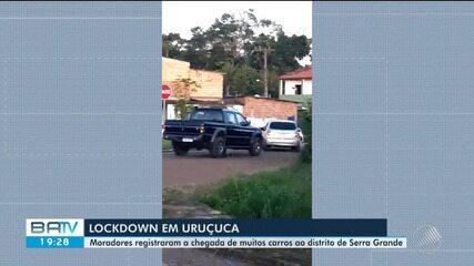 Moradores de Uruçuca filmam grande movimento de carros rumo a distrito de Serra Grande