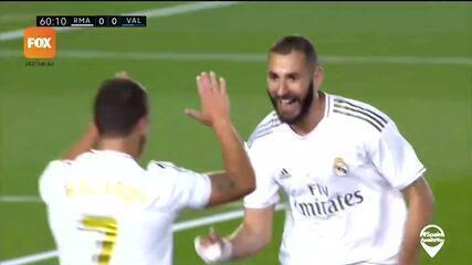Os gols de Real Madrid 3 x 0 Valencia pelo Campeonato Espanhol: Benzema marcou dois na vitória
