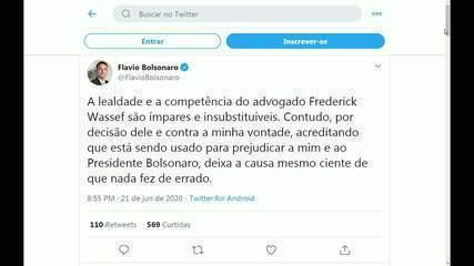 Flávio Bolsonaro anuncia em rede social que Frederick Wassef não é mais seu advogado