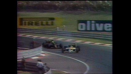 Nelson Piquet ultrapassa Ayrton Senna, na volta 57 do GP da Hungria de 1986