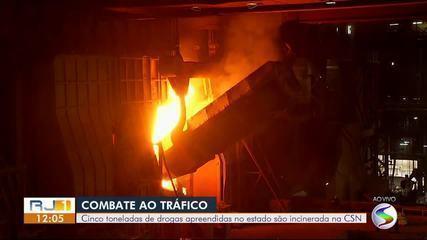 Cinco toneladas de drogas são incineradas pela Polícia Federal na CSN, em Volta Redonda