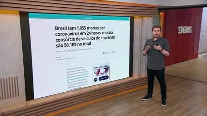 Brasil tem 1.280.054 casos de coronavírus e 56.109 mortes, informa consórcio de imprensa