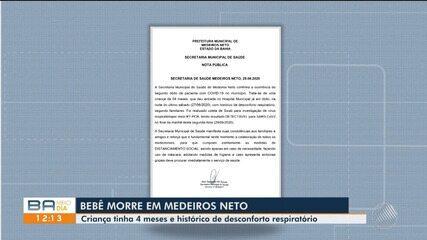 Segunda vítima da Covid-19 em Medeiros Neto, sul da Bahia, é um bebê de quatro mêses