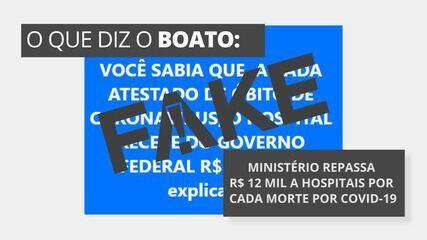 É #FAKE que Ministério da Saúde repassa R$ 12 mil a hospitais por cada morte por Covid-19