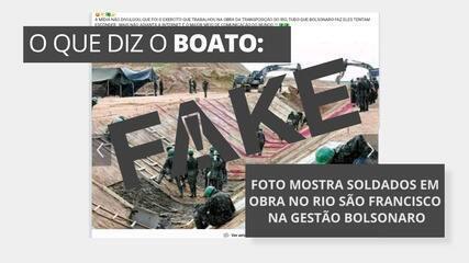 É #FAKE que foto mostre soldados em obra no Rio São Francisco durante o governo Bolsonaro
