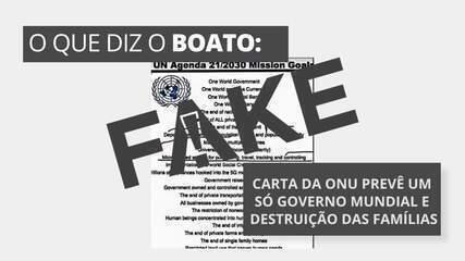 É #FAKE carta com logo da ONU que prevê um só governo mundial e destruição das famílias